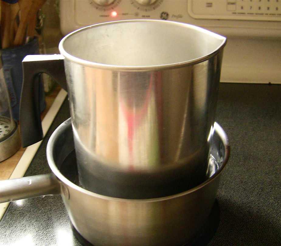 double boiler with candle pour pot