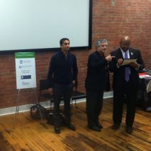 (Left to Right) Premal Shah: President and Co-Founder of Kiva, Alan Greenberger: Philadelphia's Deputy Mayor for Economic Development and Director of Commerce and Mayor Nutter